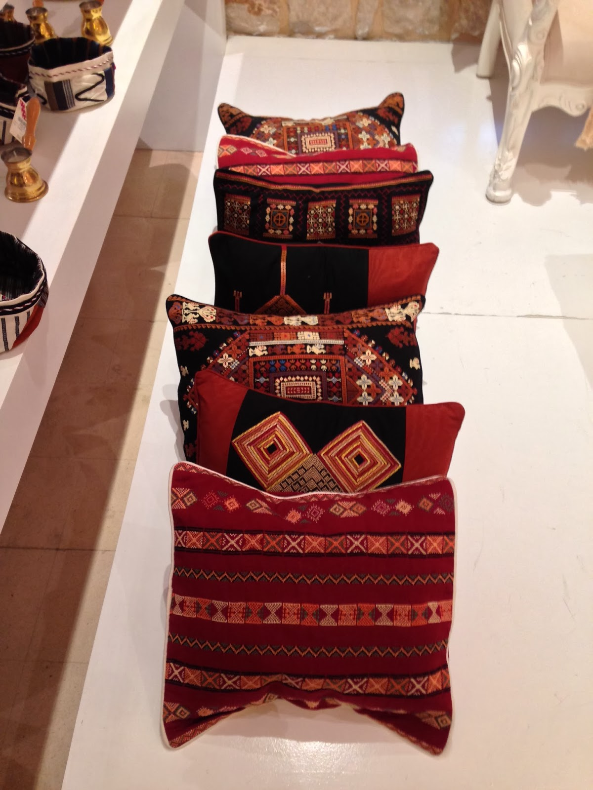 Hand embroidered cushions reflecting the heritage